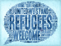 Refugees Welcome. Slogan written in watercolor on paper and other related words in speech bubble shape Royalty Free Stock Photography