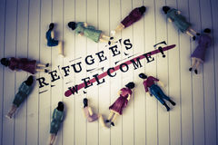 Refugees welcome strikethrough text on paper Royalty Free Stock Photo