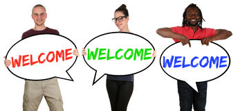 Refugees welcome young multi ethnic people speech bubbles Stock Photography