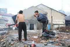 Refugees during the winter in Serbia Royalty Free Stock Photos