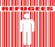 Refugees word and human icon in barcode Stock Image