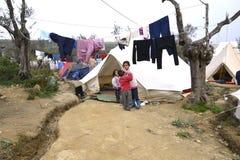 Refugeescamp Moria na Lesvos Zdjęcie Royalty Free