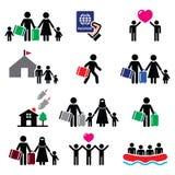Refugiado, inmigrantes, familias que corren lejos de sus iconos de los países fijados stock de ilustración