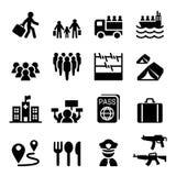 Refugiado, inmigrantes, iconos de la inmigración fijados ilustración del vector