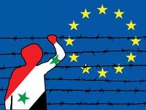 Refugiado que intenta entrar a la sombra de Europa Fotos de archivo