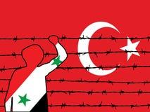 Refugiado que intenta llegar adentro a Turquía Fotos de archivo libres de regalías