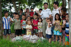 Refugiados de Hmong en IDC Nong Khai, Tailandia Fotografía de archivo