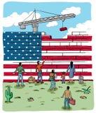 Refugiados de la gente delante de una bandera de la pared de los E.E.U.U. ilustración del vector