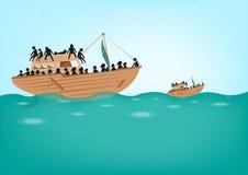 Refugiados de Rohingya en concepto del barco Foto de archivo libre de regalías
