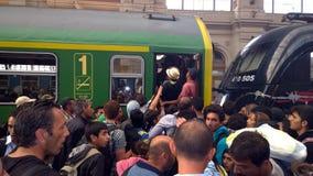 Refugiados en Budapest, Hungría Fotos de archivo libres de regalías