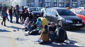 Refugiados en el puerto Imagen de archivo