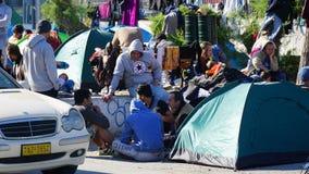 Refugiados en el puerto Fotografía de archivo libre de regalías
