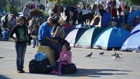 Refugiados en el puerto Foto de archivo
