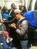 Refugiados no trem regional Foto de Stock