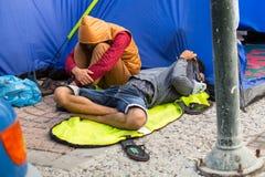 Refugiados que chegam em Grécia por barcos infláveis de Turquia Fotografia de Stock