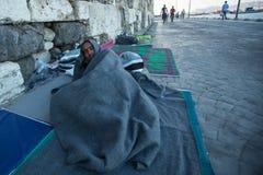 Refugiados que chegam em Grécia por barcos infláveis de Turquia Imagens de Stock Royalty Free