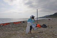 Refugiados que chegam em Lesvos Fotos de Stock Royalty Free