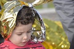 Refugiados que chegam em Lesvos Imagens de Stock
