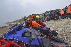 Refugiados que chegam em Lesvos Imagem de Stock