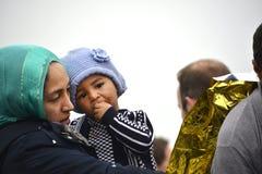 Refugiados que chegam em Lesvos Fotos de Stock