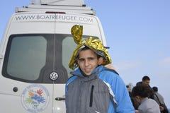 Refugiados que chegam em Lesvos Fotografia de Stock Royalty Free