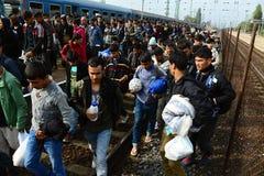 refugiados que saem de Hungria Imagens de Stock Royalty Free