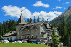 Refugio hotel and restaurant in the Alps Stock Photography
