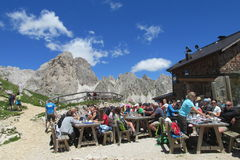 Refugio hutte restaurant in the Alps Royalty Free Stock Images