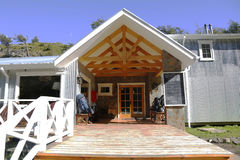 Refugio Lago Grey e acampamento no parque nacional de Torres del Paine Fotografia de Stock