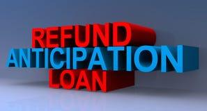 Refund anticipation loan illustration. Refund anticipation loan illustrated in 3D block text red and blue graphics vector illustration