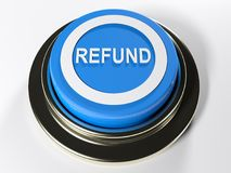 REFUND blue push button - 3D rendering Stock Image