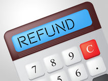 Refund Calculator Means Reimbursement Refunding And Return. Refund Calculator Showing Discount Remuneration And Rebate Royalty Free Stock Photography