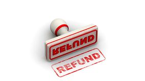 Refund. Stamp leaves a imprint. Stamp leaves a red imprint `Refund` on white surface. Footage video vector illustration