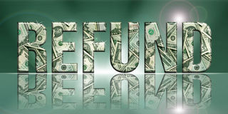 Refund1. Dimensional Reflective Embossed Money Word Refund Perspective Translucent Background vector illustration