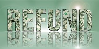 Refund2. Dimensional Reflective Embossed Money Word Refund Perspective, with Translucent Background royalty free illustration