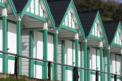 Refurbished beach huts on south Wales coast Royalty Free Stock Photos