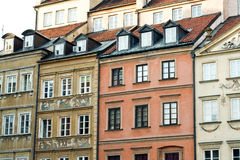Refurbished fragment of ancient buildings in the Old Town in Warsaw Stock Photo