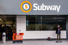 The refurbished Glasgow subway in Byres road. Glasgow, UK – March, 2014:  Entrance of the newly refurbished Glasgow subway in Byres road, West end Stock Photo