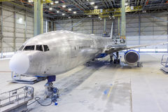 Refurbishment of an airplane. Royalty Free Stock Photo