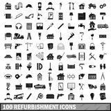 100 refurbishment icons set, simple style. 100 refurbishment icons set in simple style for any design vector illustration Royalty Free Illustration
