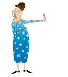 Refusal. Cartoon of a disapproving lady pushing something away in refusal Stock Photos