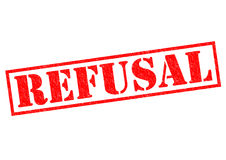 REFUSAL. Red Rubber Stamp over a white background Royalty Free Stock Photos