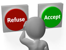 Refuse Accept Buttons Shows Refusal. Refuse Accept Buttons Showing Refusal Or Acceptance Stock Photos