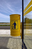 Refuse bin. Photo of refuse bin on bus stop stock photography