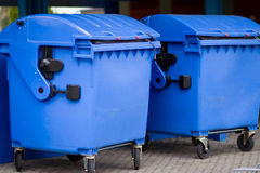 Refuse bin. Two blue refuse bins, recycling Stock Photo