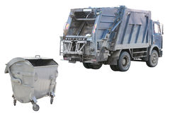 Refuse bin and garbage truck. Under the white background Stock Photos