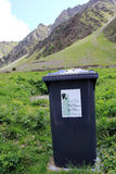 The refuse bins in the Swiss mountains Stock Photography