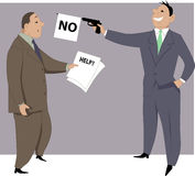 Refuse to help. Businessman showing papers with the word help on them to a co-worker and he fires a prop gun with a no flag, vector cartoon Royalty Free Stock Images