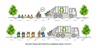 Refuse truck with recycle garbage bags vector illustration Royalty Free Stock Images