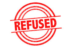 REFUSED Rubber Stamp. Over a white background Stock Photos